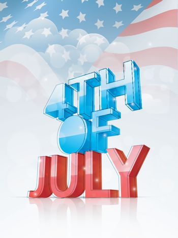 3D Text 4th of July on American Flag background. Template, Banner or Flyer for Independence Day celebration.