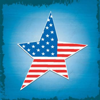 Creative Star in American Flag colors on blue background for 4th of July, Independence Day celebration.