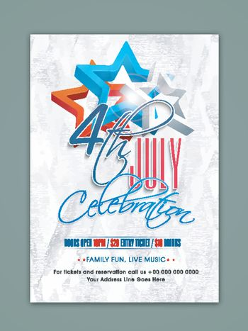 4th of July, Independence Day celebration Template, Banner or Flyer design with American Flag color stars.