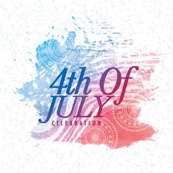 4th of July text design on abstract American Flag style background for Independence Day celebration.