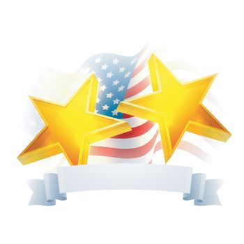 Glowing 3D Golden Stars with Blank Ribbon on Waving USA Map, Creative background for 4th of July, American Independence Day celebration.