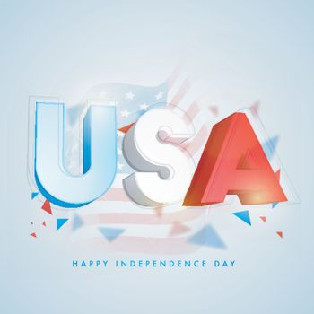 3D Text USA on Waving National Flag background for Happy Independence Day.