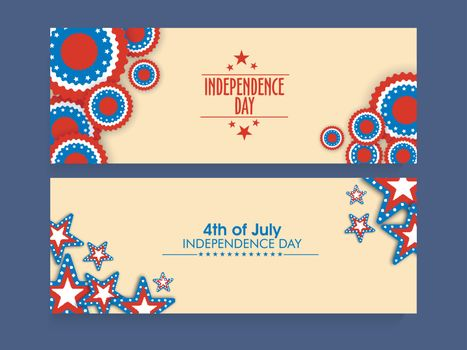 Website header or banner set decorated with American Flag colors stars for 4th of July, Independence Day celebration.