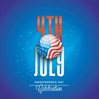 Red and White Text 4th July with American Flag Button on shiny blue background for Independence Day celebration.