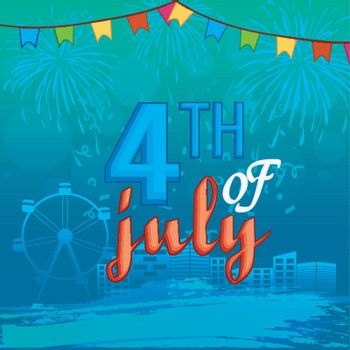 4th of July, American Independence Day celebration background with urban city view, ferris wheel and fireworks explosion.