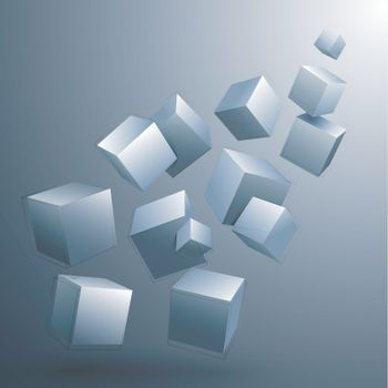Modern abstract geometric background with glossy 3D cubes.