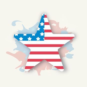Creative Star in American Flag colors on abstract splash background for 4th of July, Independence Day celebration.