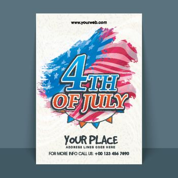 4th of July Text on American Flag background, Creative Template, Banner, Flyer design for Independence Day celebration.