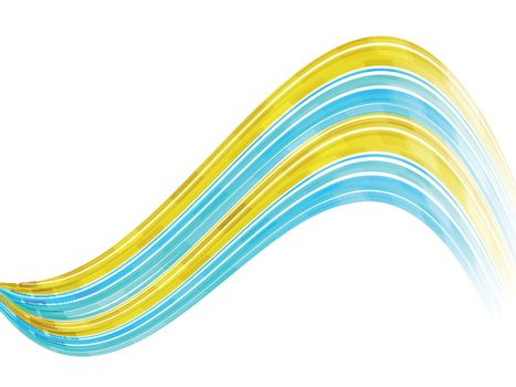 Yellow and skyblue waves on white background.