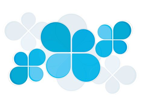 Abstract background with sky blue geometric elements.