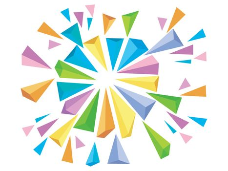 Colorful abstract geometric background with triangles burst effect.