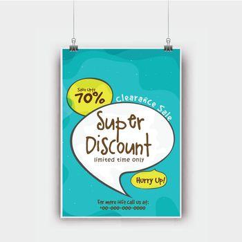 Super Discount, Clearance Sale Flyer design.
