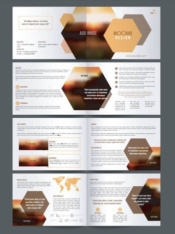 Complete Set of Eight Pages, Professional Business Brochure with Front, Inner or Back Presentation.