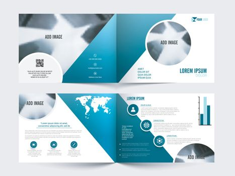 Four Pages Professional Business Brochure Set with Infographic Statistical Bar or symbols.