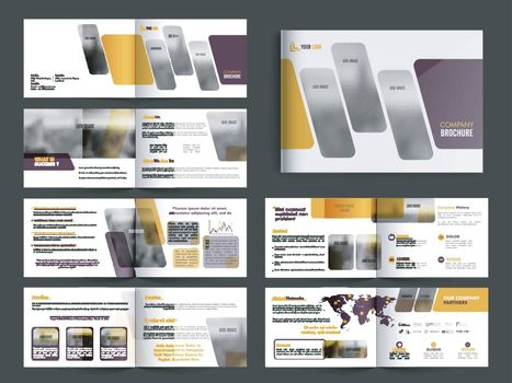 Complete Pages, Professional Modern Business Brochure Set with Front, Inner or Back Presentation.