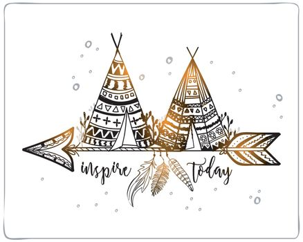 Boho style, Hand drawn Teepee or Wigwam with tribal pattern on ethnic arrow.