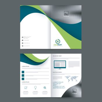 Professional Business Brochure, Template design with abstract waves and space for your images.