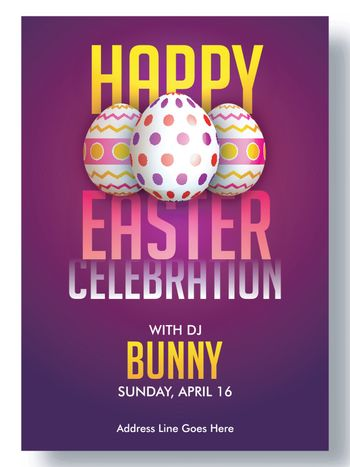 Easter Party poster or flyer design with painted eggs.