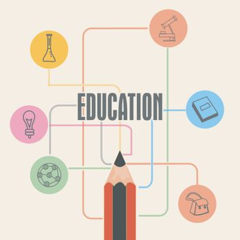 Various elements with pencil for Education concept.