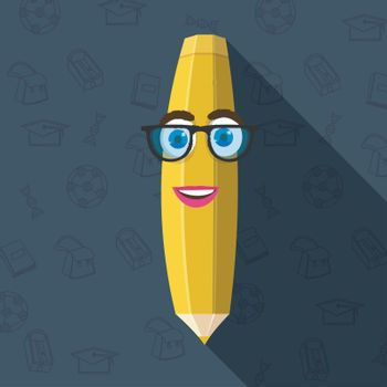 Kiddish illustration of yellow pencil with funny face for Back to School concept.