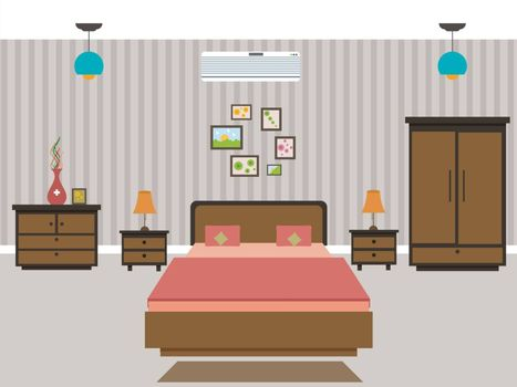 Bedroom interior design in flat design style.
