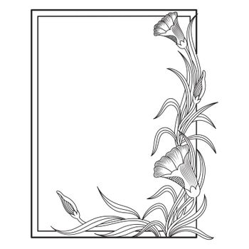 Square shaped decorative frame with elegant floral elements.