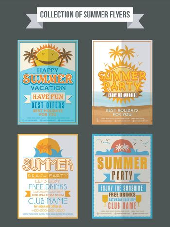 Collection of Summer Party flyers, templates or banners design.