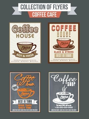 Set of four flyers or templates design for Coffee Shop.