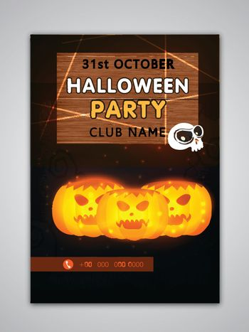 Halloween Party Template, Banner, Flyer or Invitation design with scary pumpkins.