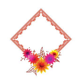 Beautiful flowers decorated, Elegant ornamental frame design.