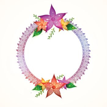 Decorative rounded frame with colorful flowers.