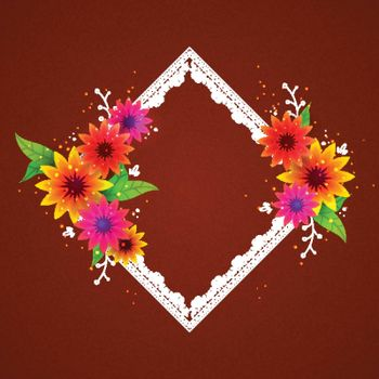 Elegant square shaped frame with colorful flowers decoration.