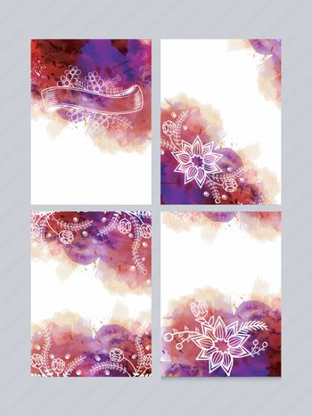 Hand drawn greeting card or invitation card set. Creative abstract background with colorful watercolor brush stroke and beautiful floral design decoration.