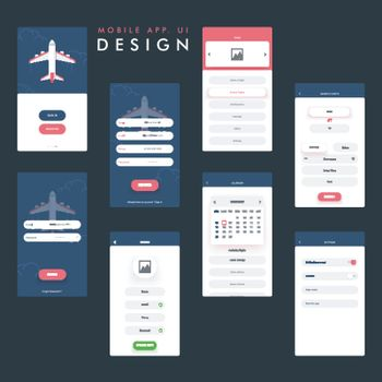 Travel Mobile App UI, UX design with Sign In, Register, Home, Search, Profile, Calendar and Setting Screens.