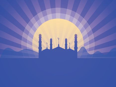 View of desert with Mosque on abstract rays background for Muslim Community Festivals celebration.