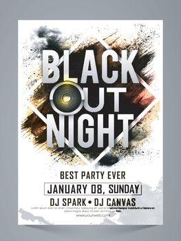 Black Out Night, Stylish Party Celebration Flyer.