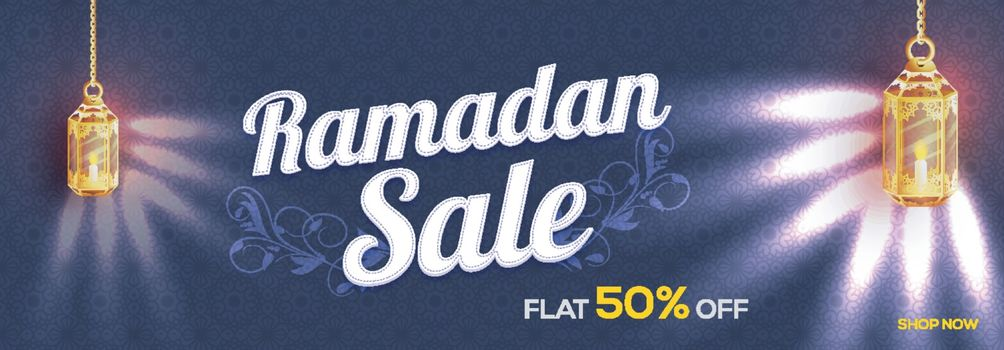Islamic Holy Month, Ramadan Sale banner decorated with glowing hanging lamps and beautiful floral design.