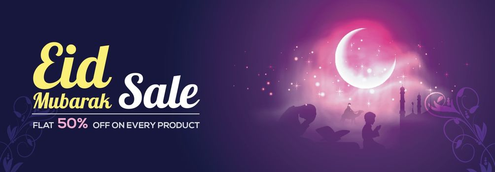 Eid Mubarak Sale with Flat 50% Off. Creative social media banner design with illustration of praying islamic people in front of mosque in moonlight night.