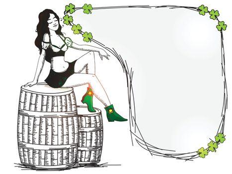 Leprechaun Girl sitting on barrel for St. Patrick's Day.