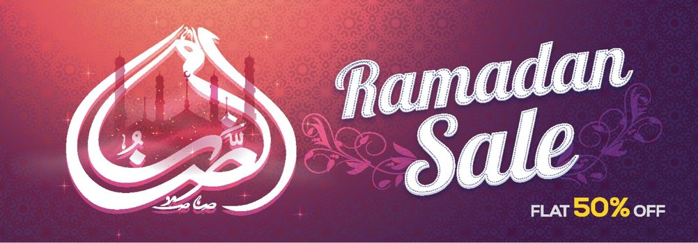 Ramadan Sale with Flat 50% Off. Creative social media banner with arabic islamic calligraphy, mosque and beautiful floral design decoration.