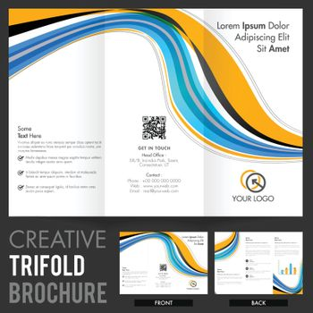 Two Page Business Tri-Fold Brochure, Template design with abstract waves.
