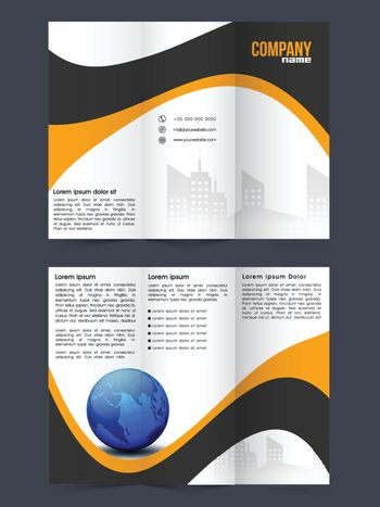 Two Page Tri-Fold Brochure, Template design with abstract waves for Business concept.
