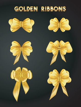 Set of golden ribbons.