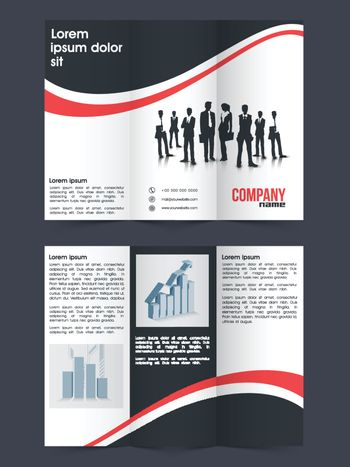 Professional Tri-Fold Brochure, Template design with front and back page presentation for Business concept.