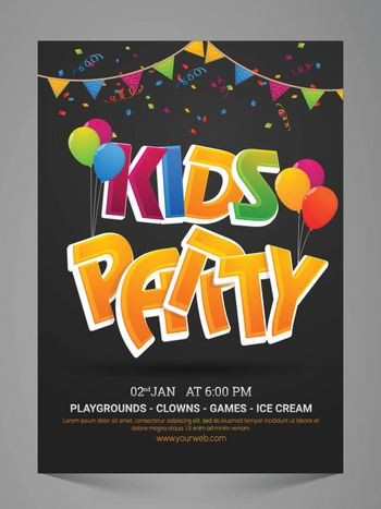 Kids Party Flyer, Banner, Invitation or Pamphlet with colorful balloons and bunting decoration.
