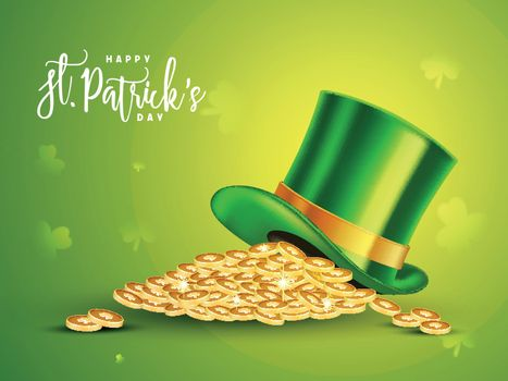 Glossy Leprechaun Hat with Gold Coins on shamrock leaves decorated green background for Happy St. Patrick's Day celebration.