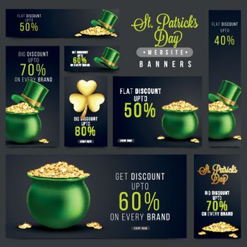 St. Patrick's Day Sale and Discount social media banners set with glossy elements as leprechaun hat, gold coins pot and shamrock leaf.