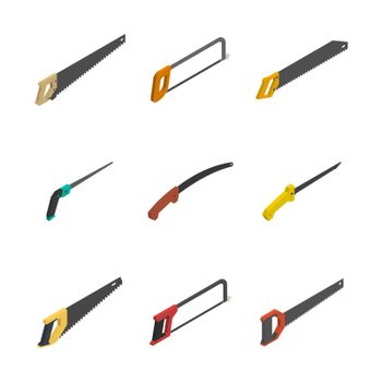 Set of different 3D hacksaws and saws, vector illustration.