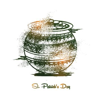 Creative hand drawn pot full of coins for Happy St. Patrick's Day celebration.