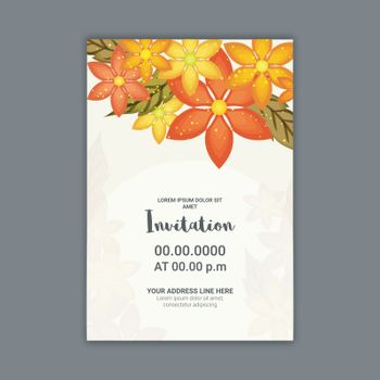 Wedding invitation card decorated with beautiful flowers.